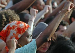 Protesting in New York City's Union Square against the acquittal of Trayvon Martin's murderer