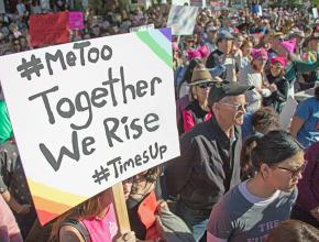 Protesters take to the streets for the 2018 Women's March in Santa Barbara, California