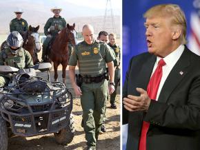 Left to right: U.S. Border Patrol shows off its equipment; Donald Trump
