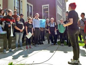 Students at Nova High School in Seattle stage a walkout against teacher layoffs