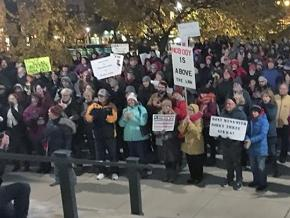 Protesters rally outside the Wisconsin state Capitol