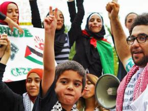 Demonstrating for Palestinian rights in Columbus, Ohio