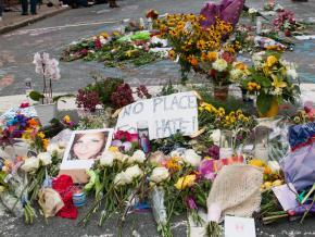 A shrine at the site of the far-right terror attack in Charlottesville