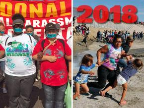 SW's year-end review, left to right: A McDonald's workers #MeToo strike; a migrant family flees tear gas
