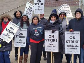 Teachers hit the picket line at a Chicago International Charter School